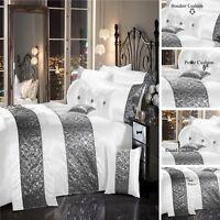 SPARKLE SEQUIN Luxury Diamante Duvet Quilt Cover Bedding Linen Set WHITE