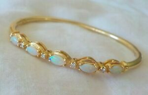 Classic 14K Yellow Gold Opal Diamond Bangle Bracelet - 7.8 gms, 7 inch, 1.56 ctw