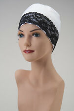 WHITE CHEMO CAP with Black Lace Lounging Sleep TURBAN Hat Cancer Head Cover