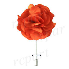 """New in box formal Men's Suit chest brooch orange solid 2"""" flower lapel pin"""