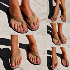 WOMEN LADIES FLAT PU LEATHER TOE POST SUMMER BEACH FLIP FLOPS SANDALS SHOES SIZE