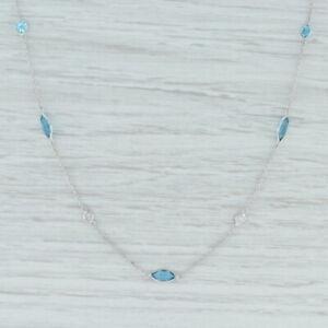 "New 4.08ctw Blue Topaz & Diamond Station Necklace 14k White Gold 18"" Adjustable"