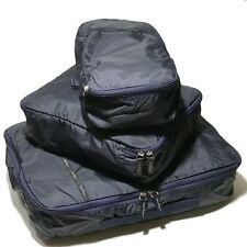 Ferragamo Navy Blue Packing Cubes Storage 3 Three Bag Luggage Organizer Gift Set