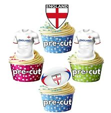 PRECUT Rugby Cupcake Toppers Cake Decorations - England