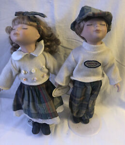 Pair Of Porcelain Dolls On Stands - Jordache, George & Lily (No 4)