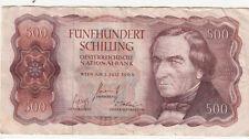 Billet banque AUTRICHE AUSTRIA 500 SCHILLING 1965 état voir scan 496