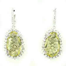 Natural 20x12mm Top Yellow Lemon Quartz ,W.Cz 925 Sterling Silver DROP Earrings