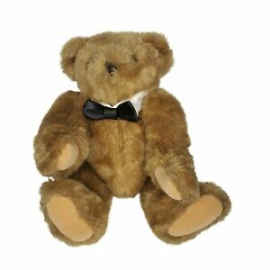 """VERMONT TEDDY BEAR TUXEDO BOW TIE JOINTED HANDMADE BROWN 17"""" NEW NWOT"""