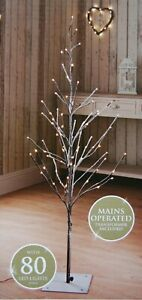 🌹New 4 Ft Snowy Effect 80 Warm White LED Twig Halloween Christmas Tree Outdoor