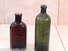 2 Antique Bottles Saxlehner Emerald Green Bitters & Maltine Amber Chemists NY
