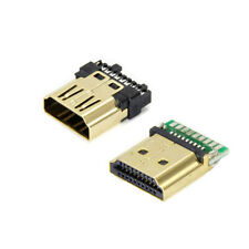 2× HDMI Male Female 19 Pin A Type Solder Plug Termination Repair Replace Adapter