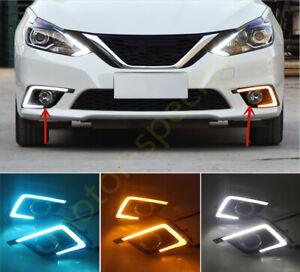 Tricolor LED front bumper fog lamp DRL running light For Nissan Sentra 2016-2019