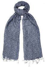 Indigo Blue Silk & Cotton Speckled Scarf - Fair Trade BNWT 180cm x 80cm