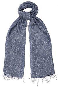 Indigo Blue Scarf Silk & Cotton Speckled weave - Fair Trade BNWT 180cm x 80cm