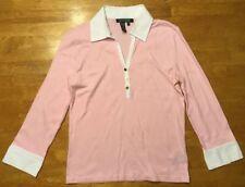 Ralph Lauren Women's Pink & White Long Sleeve Collared Polo Shirt- Size: XS