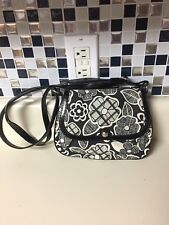 AS Relic Brand Blue Black and White Retro Floral Crossbody Bag Purse Handbag