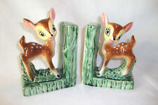 """Vintage Disney"""" Bambi"""" Bookends 6 by 4-1/2 Inches, Marked """"Japan"""" on Sides, Mint"""