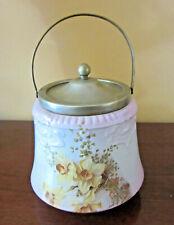 Antique 1800s Bridgewood Porcelain Biscuit Jar, EPNS Lid & Trim, Cat Rescue