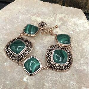 Barse Azalea Toggle Bracelet- Malachite- Copper & Sterling Silver- NWT