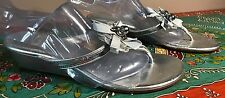 COACH VANA SILVER LEATHER SEQUIN WEDGE FLIP FLOP SLIP SLIDE ON SANDALS 7 1/2 M