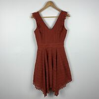 Divine Avenue Womens Dress Size 8 Brown Lace Sleeveless Fit & Flare