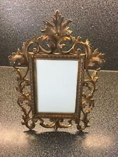 Antique Cast Metal Picture Frame With Burnished Gold Finish