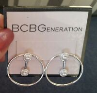 "BCBGeneration Silver tone 1"" circle earrings with bar drop and pearls, post back"