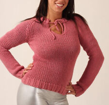 American Eagle SWEATER Pink KNITTED 100% Cotton SHIRT Pullover Cleavage TOP Sz S