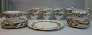 Vintage Colclough  Pink Rose Tea Cup, Saucer & Side Plate Sugar bowl  28 pcs Set
