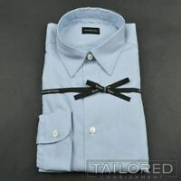 NWT - ERMENEGILDO ZEGNA Recent Blue Check 100% Cotton Casual Dress Shirt MEDIUM