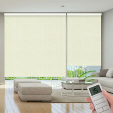 100% Blackout Remote Control Motorized Window Roller Shade Blind, Jacquard Beige
