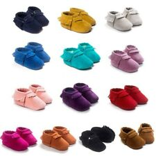 Baby Kids Boys Girls Tassel Leather Shoes Toddler Moccasin Soft Crib Shoes 0-18M