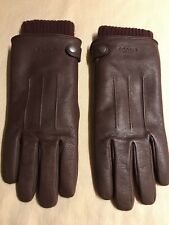 Coach Mens Goat Leather 3-in-1 Gloves, Mahogany Brown size Small
