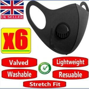 6 x Washable Reusable Filter Face Mask Protective Covering Mouth Masks Black UK