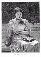 "1878 - FINE ART PRINT ""GIRL READING"" by C E PERUGINI  (280)"