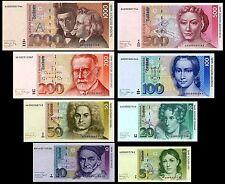 2x 5,10,20,50,100,200,500,1000 DM - 16 Banknoten 1991