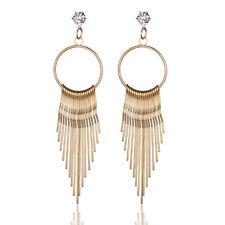 Elegant Rhinestone Alloy Stick Chain Long Tassel Dangle Earring Women Jewelry