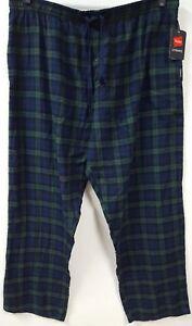 Hanes Green Black Plaid  PJ Lounge Pants Size 2XL Flannel Pajamas Pockets