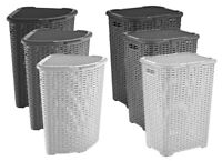Corner Plastic Laundry Basket Lid Large Rattan Washing Clothes Storage Hamper