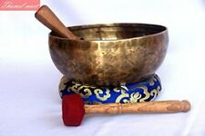 "9""Throat Chakra Old Tibetan Singing Bowl,massive mater healingsinging bowl Nepal"