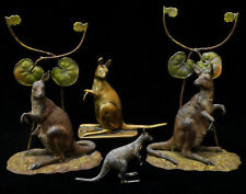 Four Kangaroo Figurines, brass, pewter, and tin, c1900-1920s Australiana