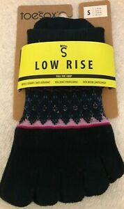 NEW Toesox Small Low Rise Full Toe Grip Woodstock Yoga Pilates Socks W 6-8 M 5-7