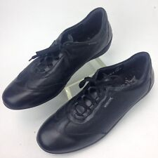 Mephisto Women Black Textured Leather Sneakers Walking Shoes 8 M Lace Up