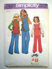 1970's Girl's Jiffy Pants side tie tunic smock pattern 7691 size 8