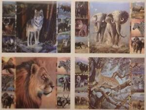 3D Lenticular Moving Image Effect Picture Wolf, Elephant, Lion or Leopard Medley