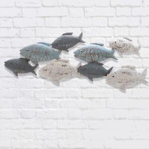 Wandbild maritim Fische Wanddeko  *Fischschwarm* Metall  creme-blau 47 x 23 cm