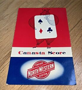 1955 CHICAGO AND NORTHWESTERN SYSTEM CANASTA SCORE Pad and Directions HERTZ
