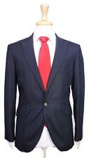* RING JACKET * Japan Navy Blue Cotton-Linen Peak Lapel 1-Btn Hacking Suit 38S