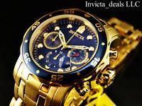 Invicta Men's 48mm Pro Diver SCUBA Chronograph Blue Dial 18K Gold Plated SS Watc