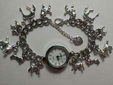 Handmade Silver DOG Charm Bracelet Watch with 12 Charms